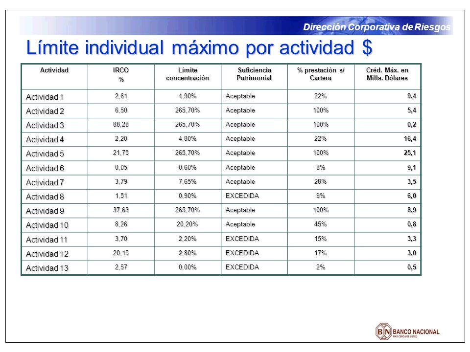 Dirección Corporativa de Riesgos ActividadIRCO% Límite concentración Suficiencia Patrimonial % prestación s/ Cartera Créd. Máx. en Mills. Dólares Acti