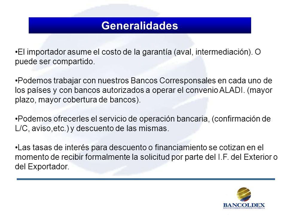 El importador asume el costo de la garantía (aval, intermediación). O puede ser compartido. Podemos trabajar con nuestros Bancos Corresponsales en cad