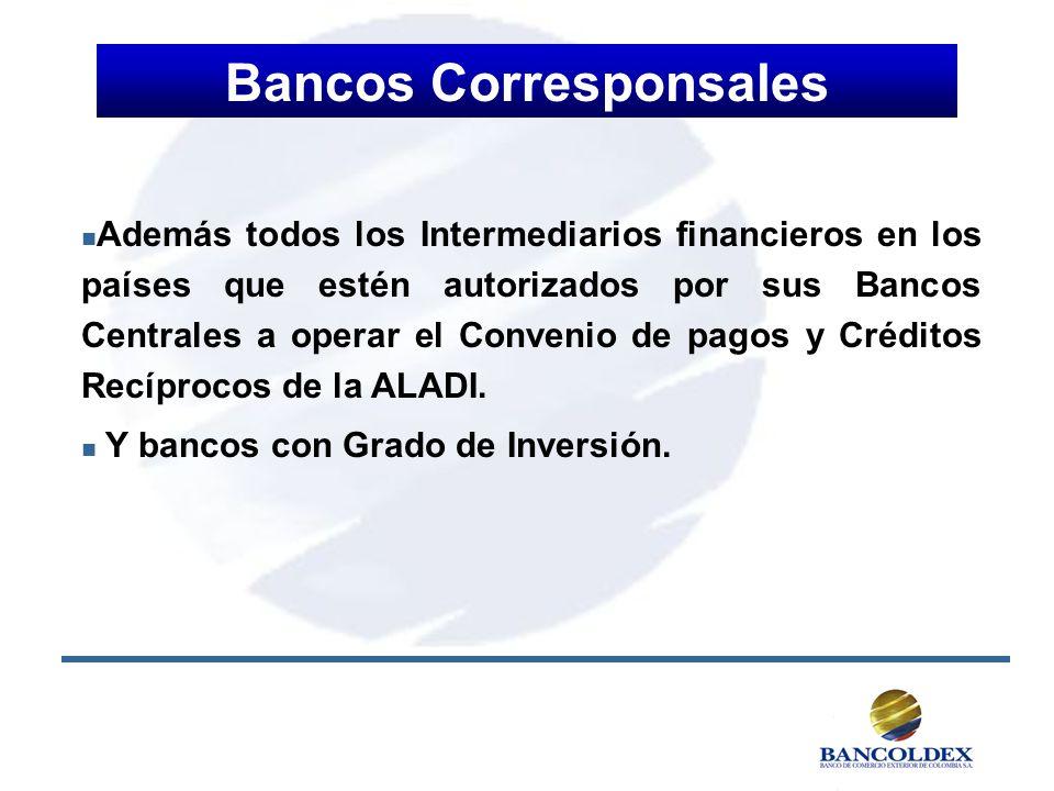 Bancos Corresponsales n n Además todos los Intermediarios financieros en los países que estén autorizados por sus Bancos Centrales a operar el Conveni
