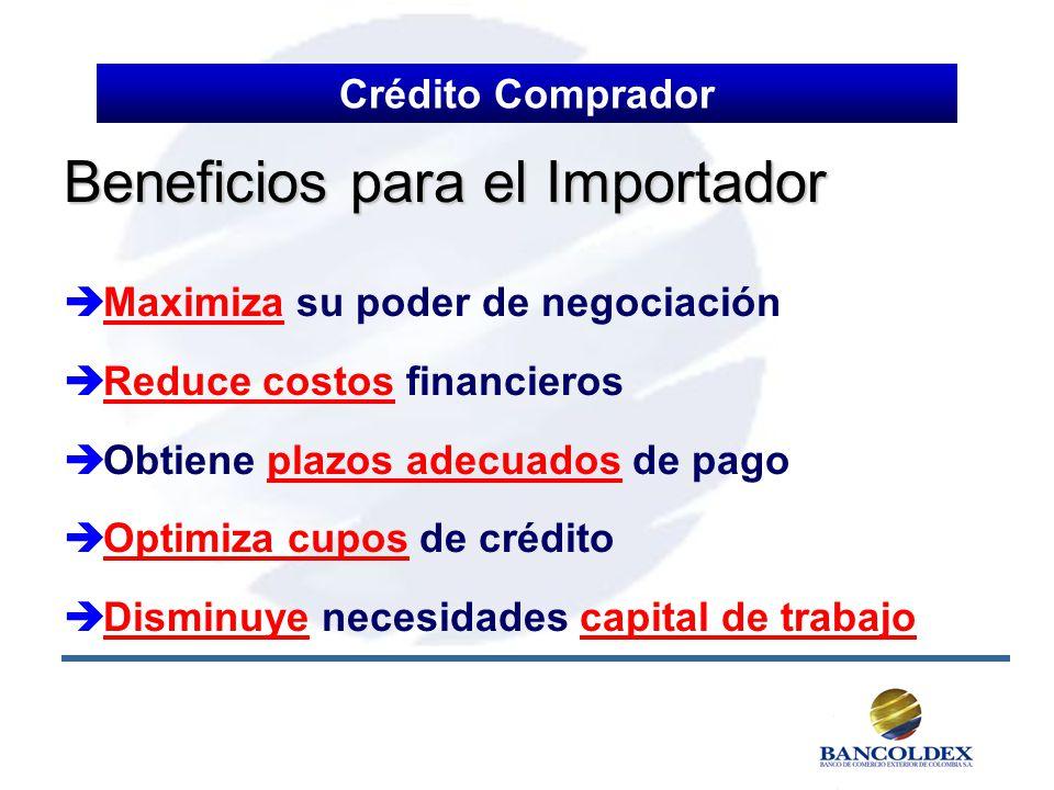 Beneficios para el Importador Maximiza su poder de negociación Reduce costos financieros Obtiene plazos adecuados de pago Optimiza cupos de crédito Di