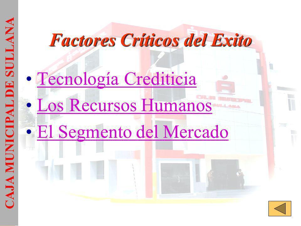 Factores Críticos del Exito Tecnología Crediticia Los Recursos Humanos El Segmento del Mercado CAJA MUNICIPAL DE SULLANA