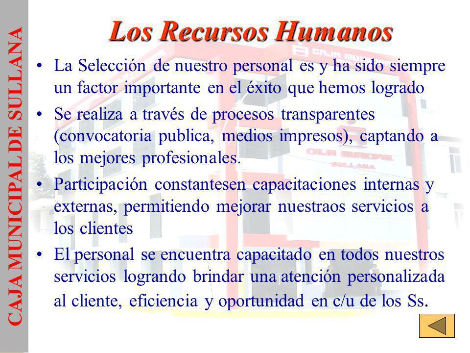 Los Recursos Humanos La Selección de nuestro personal es y ha sido siempre un factor importante en el éxito que hemos logrado Se realiza a través de procesos transparentes (convocatoria publica, medios impresos), captando a los mejores profesionales.