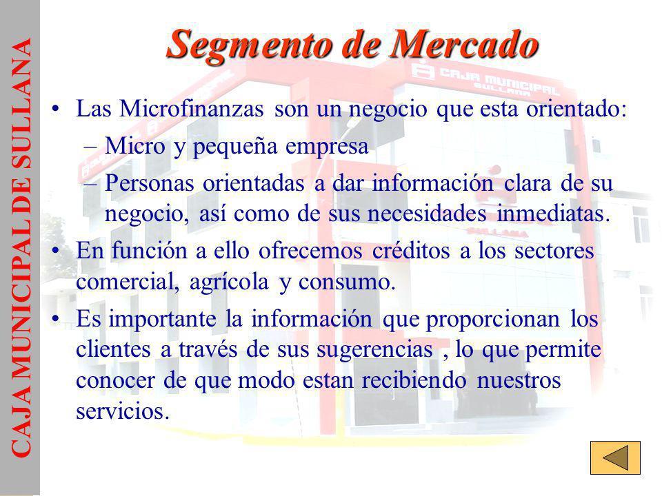 Segmento de Mercado Las Microfinanzas son un negocio que esta orientado: –Micro y pequeña empresa –Personas orientadas a dar información clara de su negocio, así como de sus necesidades inmediatas.