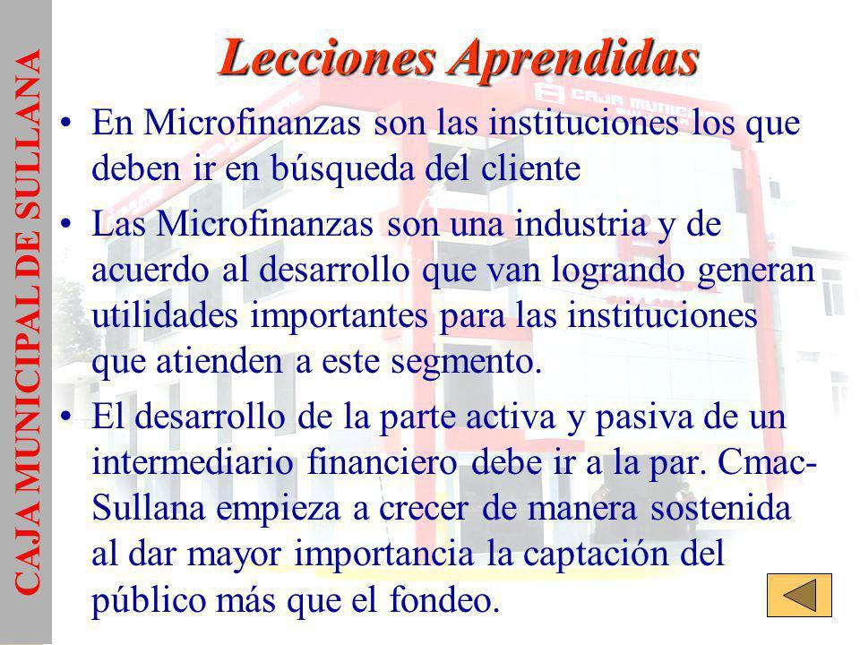 Lecciones Aprendidas En Microfinanzas son las instituciones los que deben ir en búsqueda del cliente Las Microfinanzas son una industria y de acuerdo al desarrollo que van logrando generan utilidades importantes para las instituciones que atienden a este segmento.
