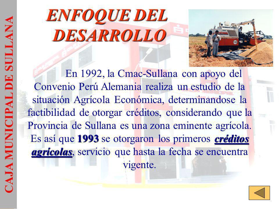 ENFOQUE DEL DESARROLLO 1993créditos agrícolas En 1992, la Cmac-Sullana con apoyo del Convenio Perú Alemania realiza un estudio de la situación Agrícola Económica, determinandose la factibilidad de otorgar créditos, considerando que la Provincia de Sullana es una zona eminente agrícola.