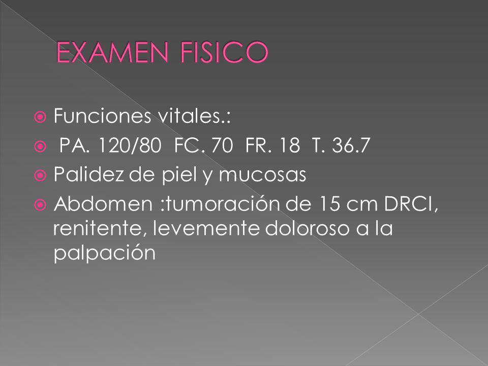 Funciones vitales.: PA. 120/80 FC. 70 FR. 18 T. 36.7 Palidez de piel y mucosas Abdomen :tumoración de 15 cm DRCI, renitente, levemente doloroso a la p