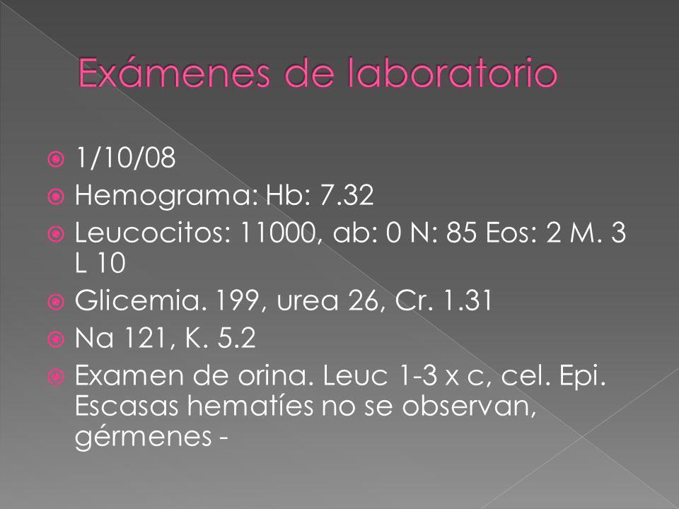 1/10/08 Hemograma: Hb: 7.32 Leucocitos: 11000, ab: 0 N: 85 Eos: 2 M. 3 L 10 Glicemia. 199, urea 26, Cr. 1.31 Na 121, K. 5.2 Examen de orina. Leuc 1-3