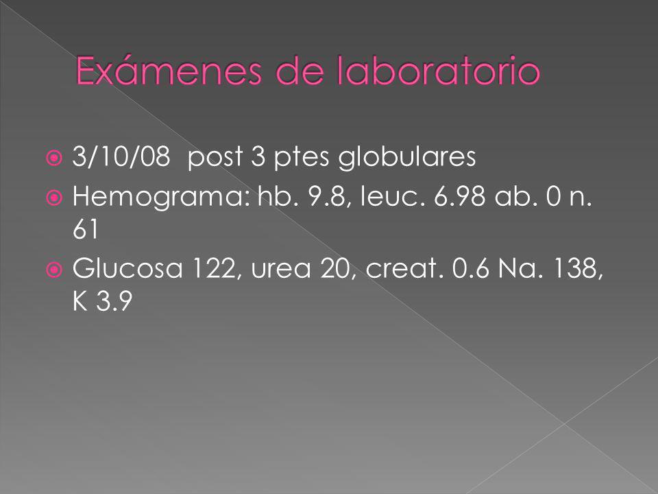 3/10/08 post 3 ptes globulares Hemograma: hb. 9.8, leuc. 6.98 ab. 0 n. 61 Glucosa 122, urea 20, creat. 0.6 Na. 138, K 3.9