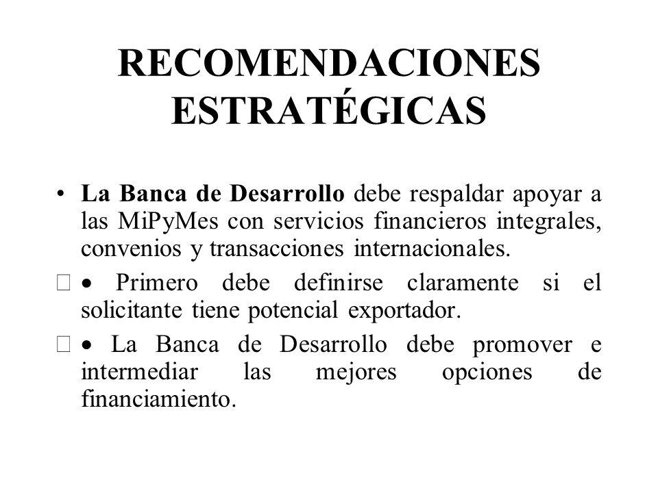 RECOMENDACIONES ESTRATÉGICAS La Banca de Desarrollo debe respaldar apoyar a las MiPyMes con servicios financieros integrales, convenios y transacciones internacionales.