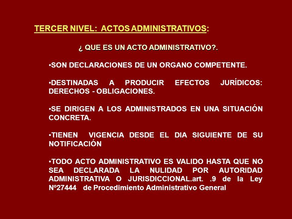 TERCER NIVEL: ACTOS ADMINISTRATIVOS: ¿ QUE ES UN ACTO ADMINISTRATIVO?. SON DECLARACIONES DE UN ORGANO COMPETENTE. DESTINADAS A PRODUCIR EFECTOS JURÍDI
