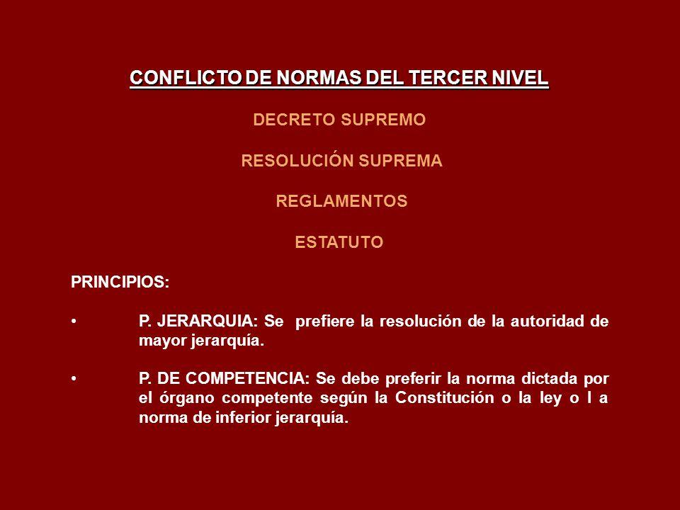 CONFLICTO DE NORMAS DEL TERCER NIVEL DECRETO SUPREMO RESOLUCIÓN SUPREMA REGLAMENTOS ESTATUTO PRINCIPIOS: P. JERARQUIA: Se prefiere la resolución de la