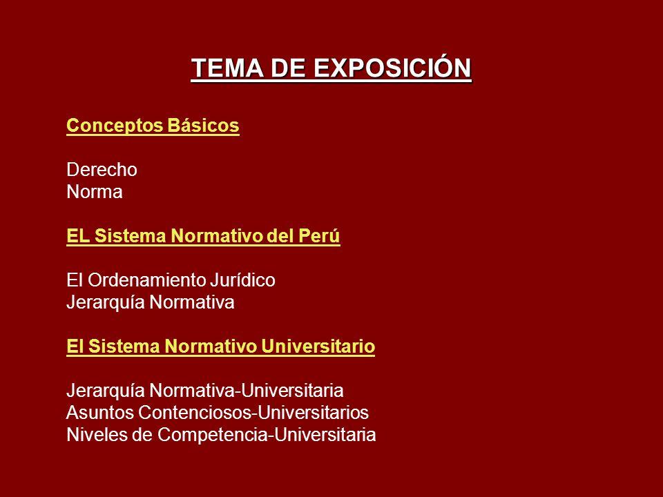 TEMA DE EXPOSICIÓN Conceptos Básicos Derecho Norma EL Sistema Normativo del Perú El Ordenamiento Jurídico Jerarquía Normativa El Sistema Normativo Uni