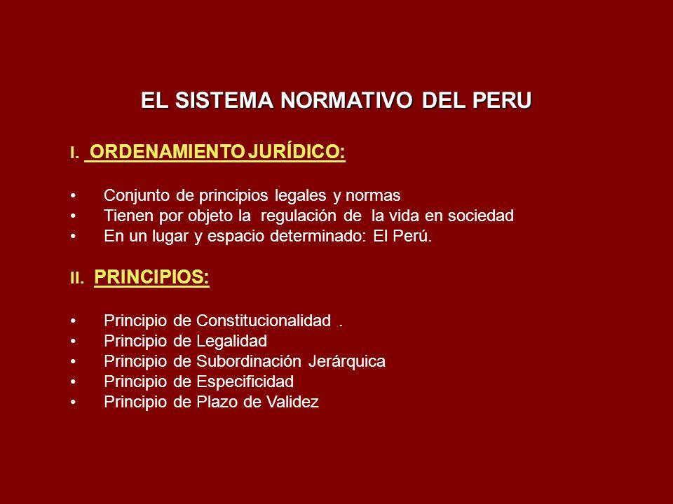 EL SISTEMA NORMATIVO DEL PERU I. ORDENAMIENTO JURÍDICO: Conjunto de principios legales y normas Tienen por objeto la regulación de la vida en sociedad