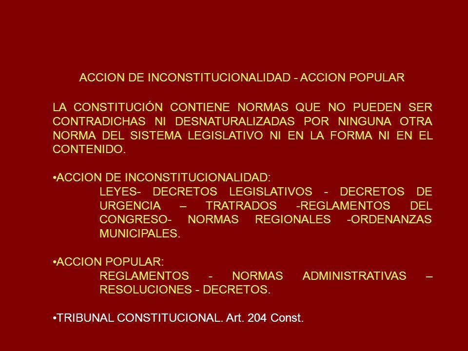 ACCION DE INCONSTITUCIONALIDAD - ACCION POPULAR LA CONSTITUCIÓN CONTIENE NORMAS QUE NO PUEDEN SER CONTRADICHAS NI DESNATURALIZADAS POR NINGUNA OTRA NO