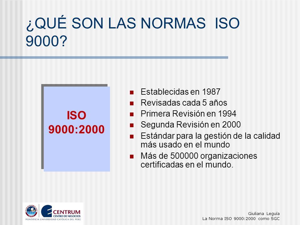 Giuliana Leguía La Norma ISO 9000:2000 como SGC Establecidas en 1987 Revisadas cada 5 años Primera Revisión en 1994 Segunda Revisión en 2000 Estándar