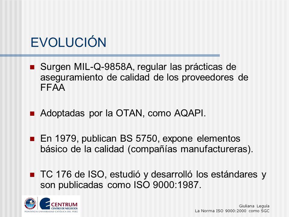 Giuliana Leguía La Norma ISO 9000:2000 como SGC Surgen MIL-Q-9858A, regular las prácticas de aseguramiento de calidad de los proveedores de FFAA Adopt