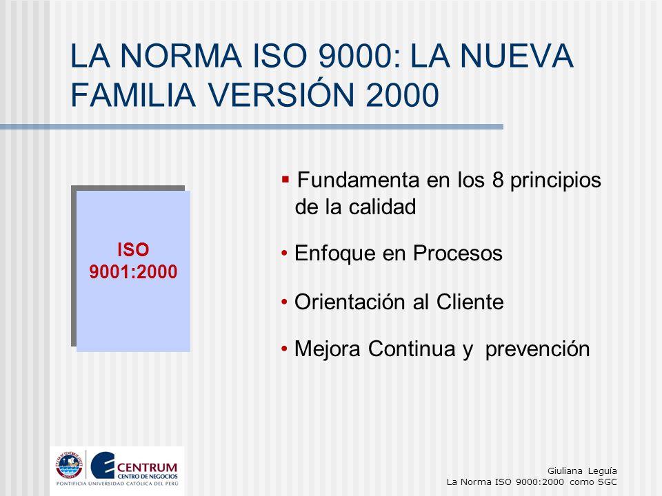 Giuliana Leguía La Norma ISO 9000:2000 como SGC ISO 9001:2000 ISO 9001:2000 Enfoque en Procesos LA NORMA ISO 9000: LA NUEVA FAMILIA VERSIÓN 2000 Orien