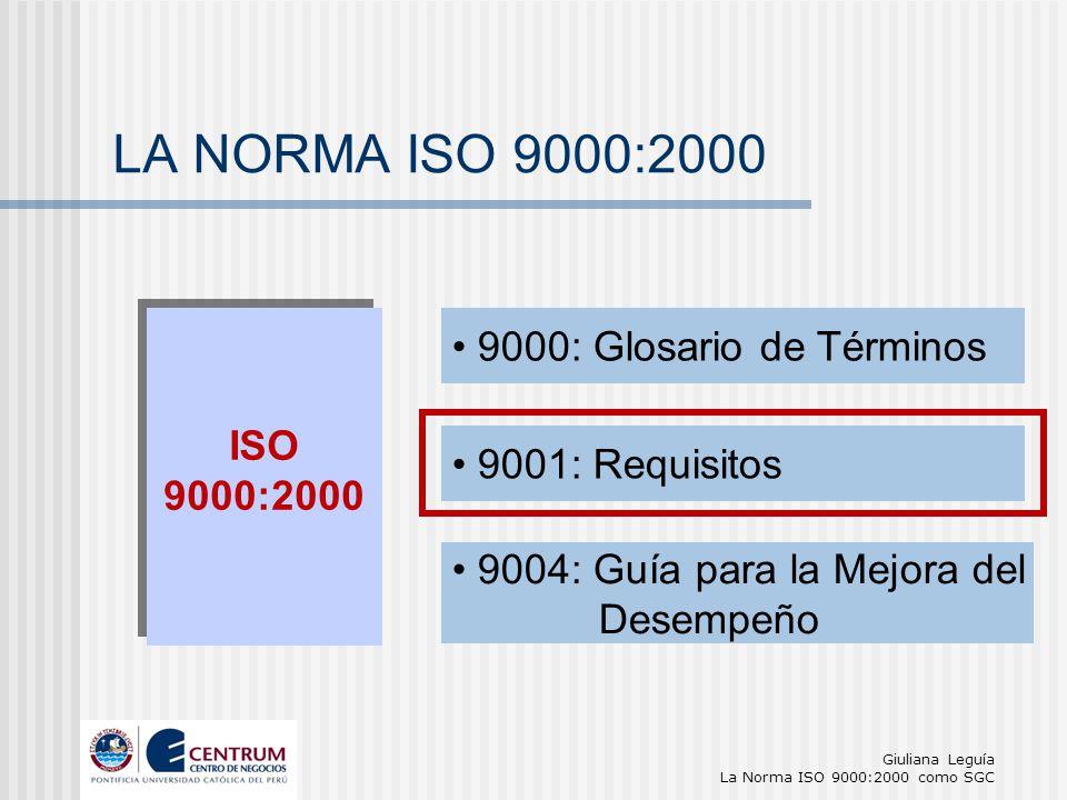 Giuliana Leguía La Norma ISO 9000:2000 como SGC LA NORMA ISO 9000:2000 ISO 9000:2000 ISO 9000:2000 9000: Glosario de Términos 9001: Requisitos 9004: G