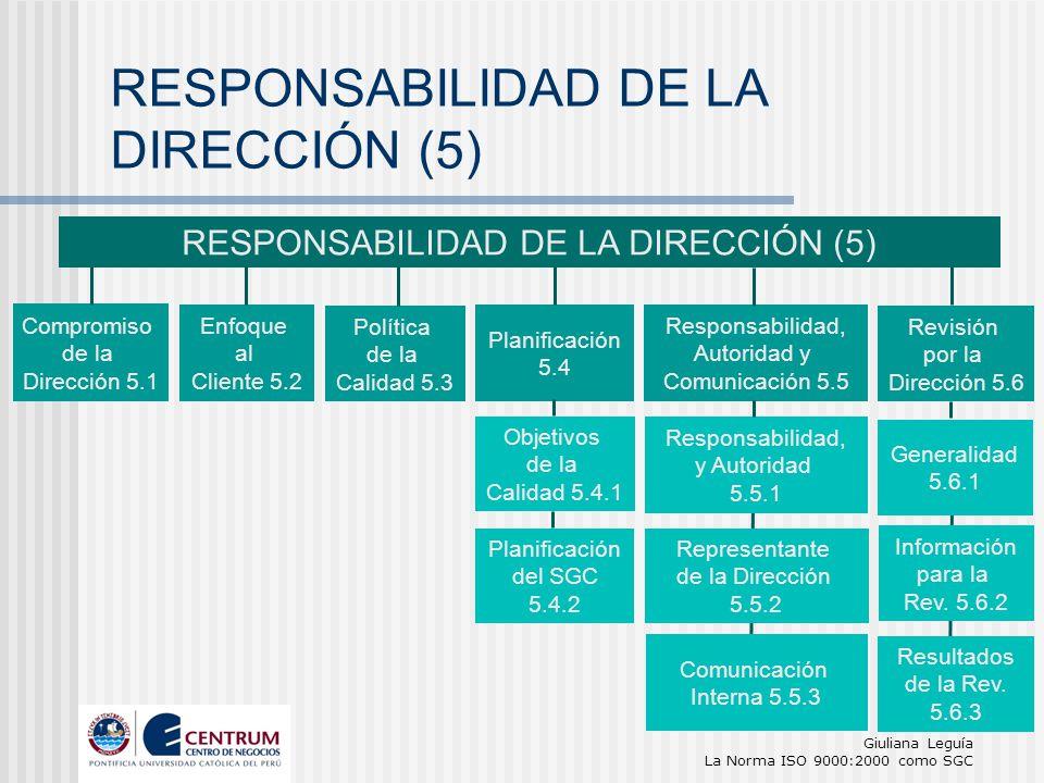 Giuliana Leguía La Norma ISO 9000:2000 como SGC RESPONSABILIDAD DE LA DIRECCIÓN (5) Compromiso de la Dirección 5.1 Enfoque al Cliente 5.2 Política de