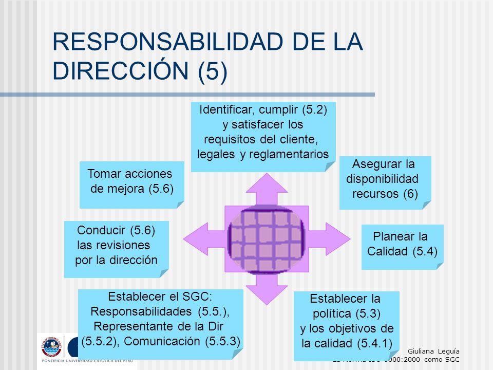 Giuliana Leguía La Norma ISO 9000:2000 como SGC ALTA DIRECCIÓN Identificar, cumplir (5.2) y satisfacer los requisitos del cliente, legales y reglament