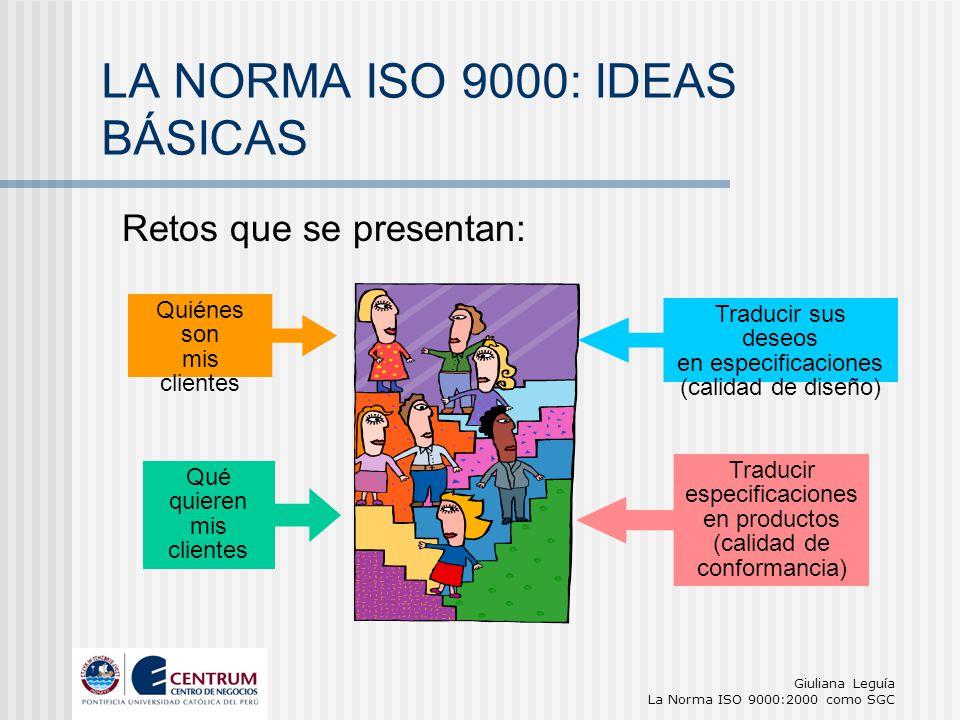 Giuliana Leguía La Norma ISO 9000:2000 como SGC Quiénes son mis clientes Qué quieren mis clientes Traducir sus deseos en especificaciones (calidad de