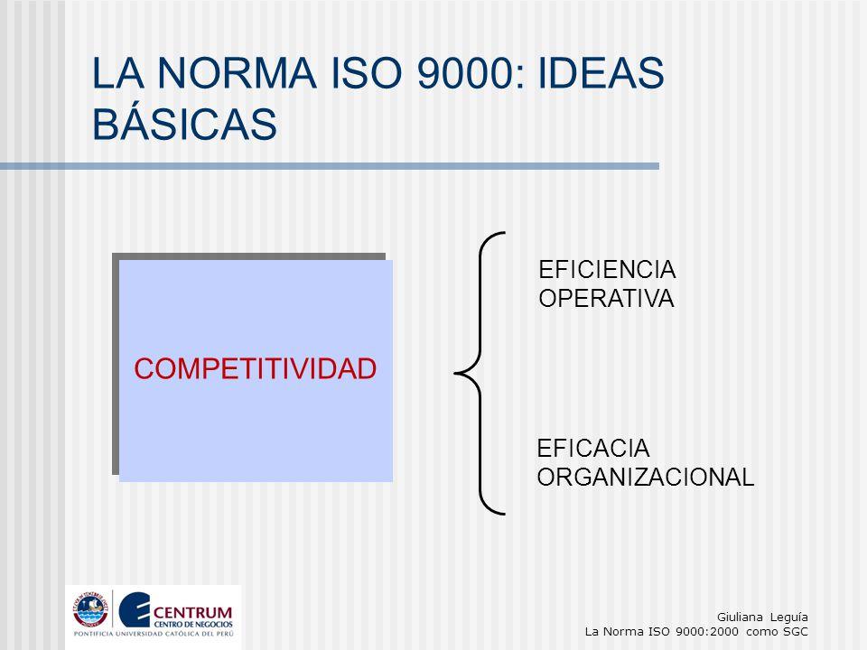Giuliana Leguía La Norma ISO 9000:2000 como SGC EFICACIA ORGANIZACIONAL EFICIENCIA OPERATIVA LA NORMA ISO 9000: IDEAS BÁSICAS COMPETITIVIDAD