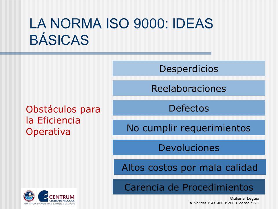 Giuliana Leguía La Norma ISO 9000:2000 como SGC Obstáculos para la Eficiencia Operativa Desperdicios Reelaboraciones Defectos No cumplir requerimiento