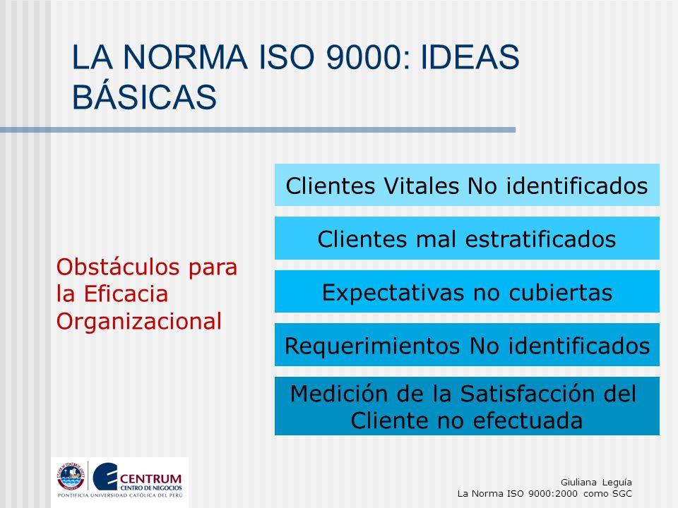 Giuliana Leguía La Norma ISO 9000:2000 como SGC Obstáculos para la Eficacia Organizacional Requerimientos No identificados Clientes Vitales No identif