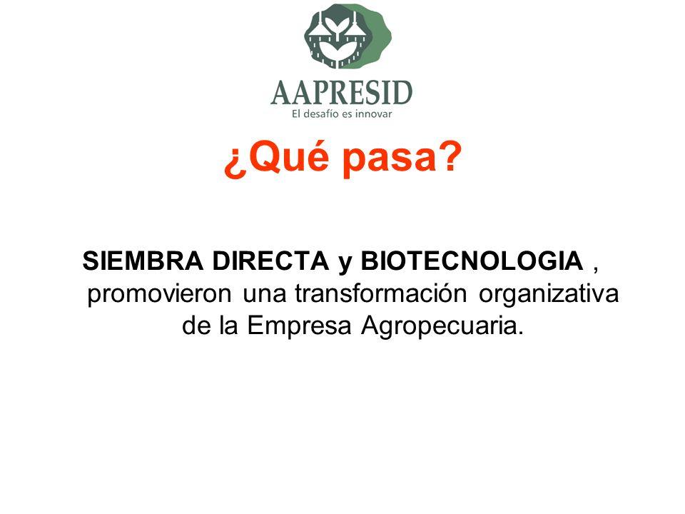 ¿Qué pasa? SIEMBRA DIRECTA y BIOTECNOLOGIA, promovieron una transformación organizativa de la Empresa Agropecuaria.