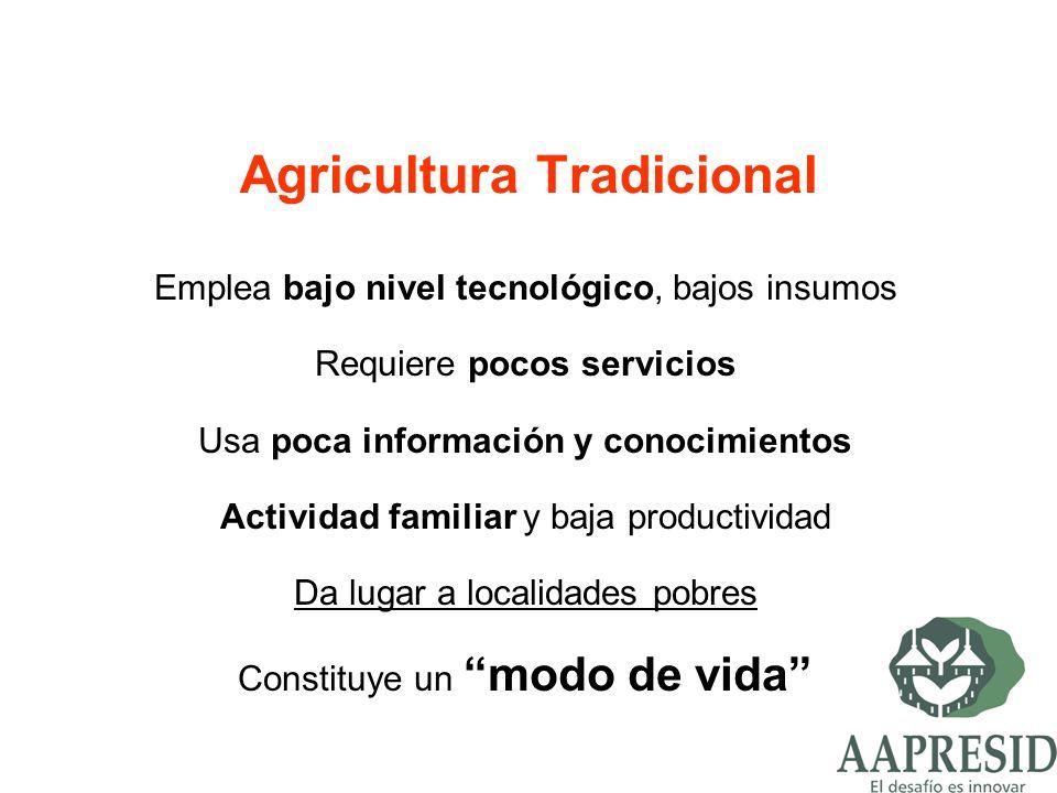 Agricultura Tradicional Emplea bajo nivel tecnológico, bajos insumos Requiere pocos servicios Usa poca información y conocimientos Actividad familiar