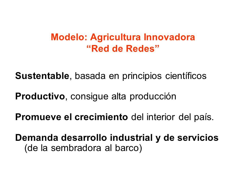 Modelo: Agricultura Innovadora Red de Redes Sustentable, basada en principios científicos Productivo, consigue alta producción Promueve el crecimiento