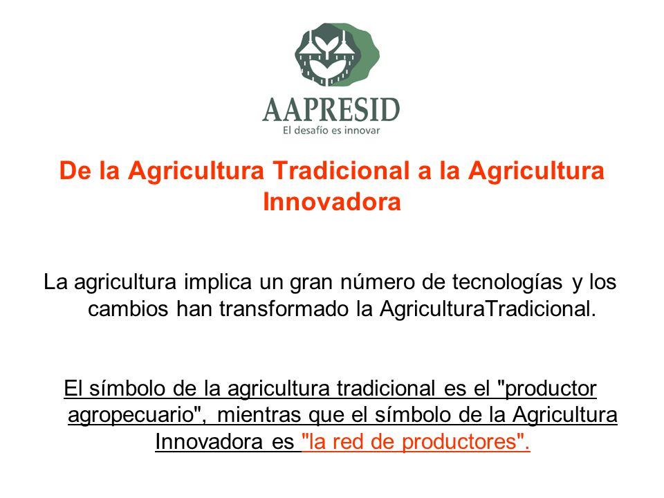 De la Agricultura Tradicional a la Agricultura Innovadora La agricultura implica un gran número de tecnologías y los cambios han transformado la Agric