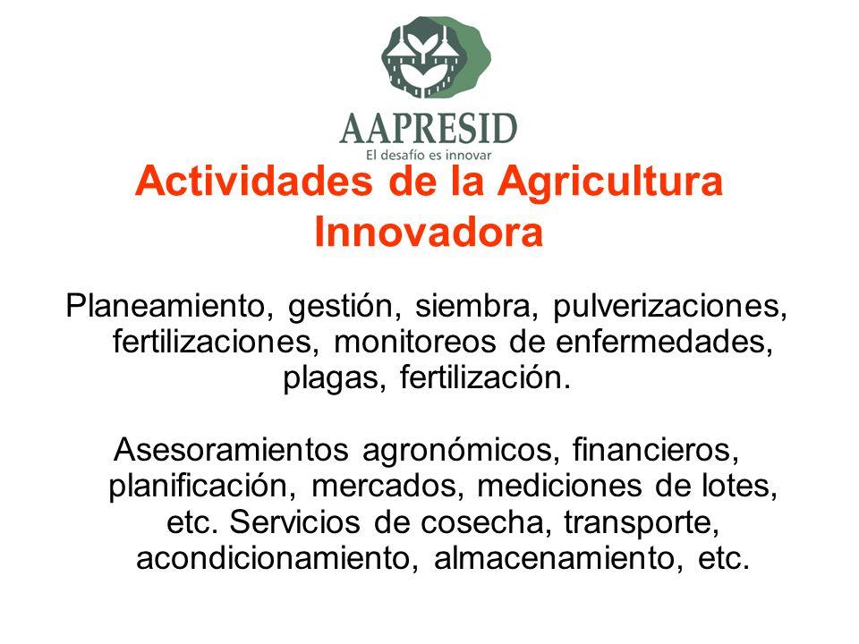 Actividades de la Agricultura Innovadora Planeamiento, gestión, siembra, pulverizaciones, fertilizaciones, monitoreos de enfermedades, plagas, fertili
