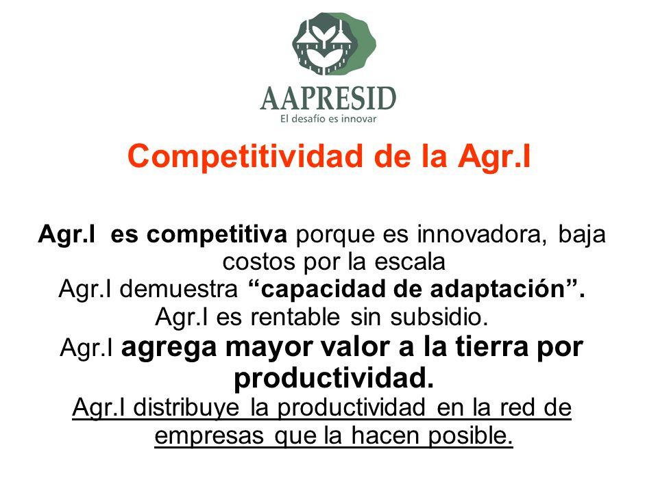 Competitividad de la Agr.I Agr.I es competitiva porque es innovadora, baja costos por la escala Agr.I demuestra capacidad de adaptación. Agr.I es rent