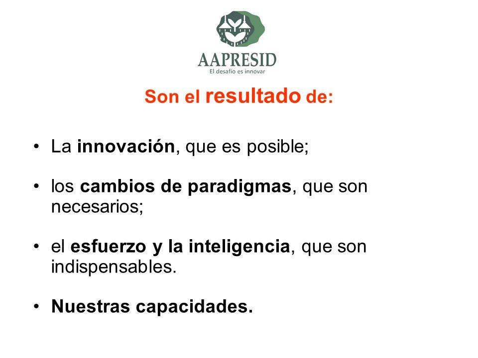 Son el resultado de: La innovación, que es posible; los cambios de paradigmas, que son necesarios; el esfuerzo y la inteligencia, que son indispensabl