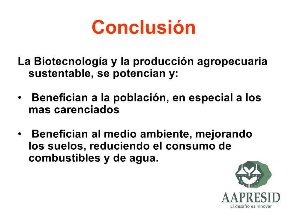 Conclusión La Biotecnología y la producción agropecuaria sustentable, se potencian y: Benefician a la población, en especial a los mas carenciados Ben