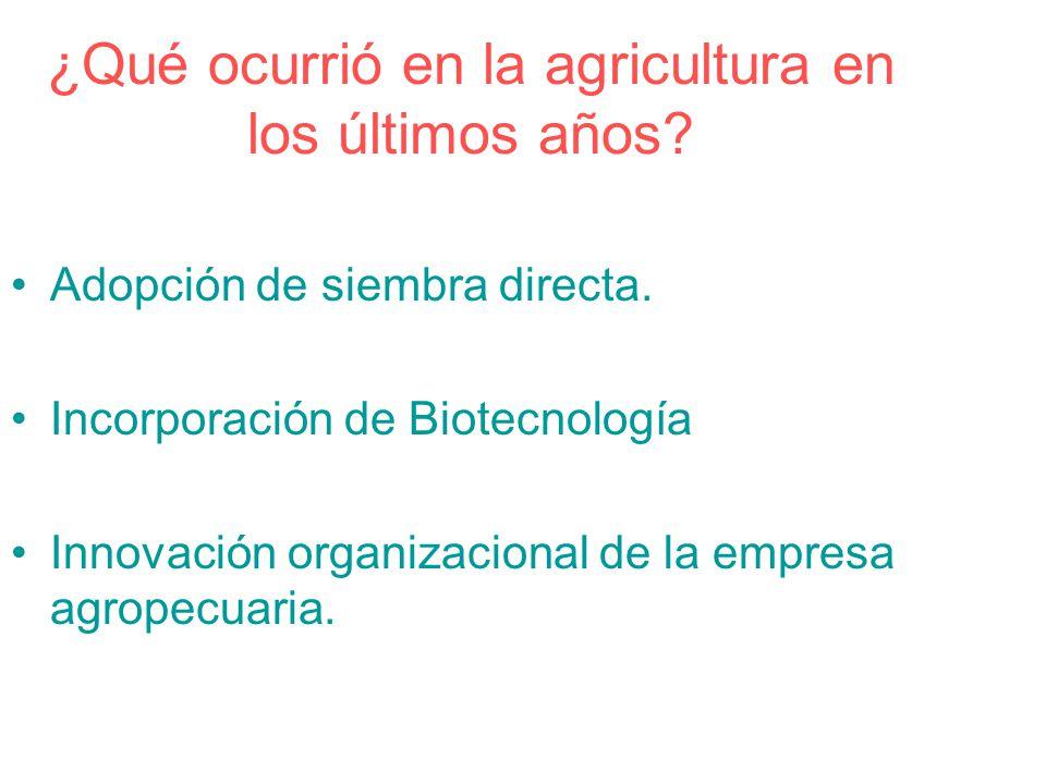 ¿Qué ocurrió en la agricultura en los últimos años? Adopción de siembra directa. Incorporación de Biotecnología Innovación organizacional de la empres