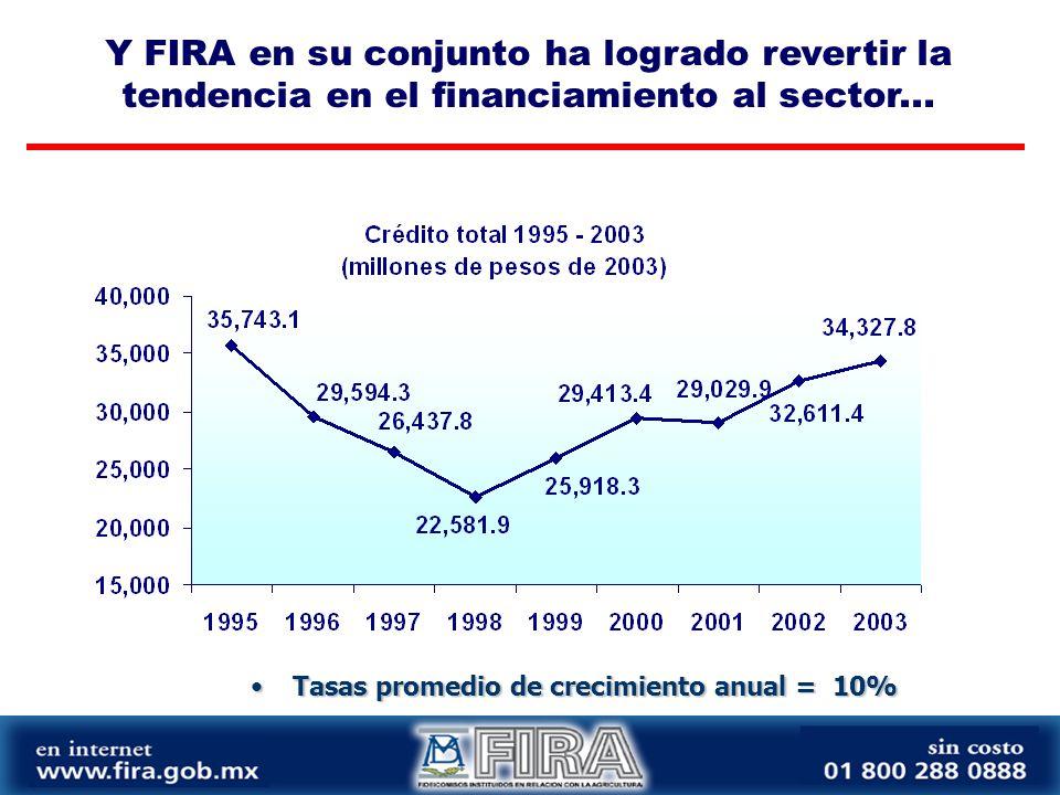 Tasas promedio de crecimiento anual = 10%Tasas promedio de crecimiento anual = 10% Y FIRA en su conjunto ha logrado revertir la tendencia en el financiamiento al sector...