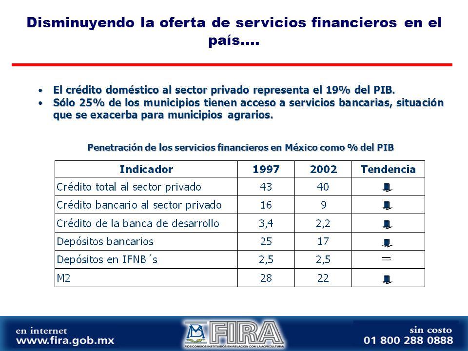Penetración de los servicios financieros en México como % del PIB El crédito doméstico al sector privado representa el 19% del PIB.El crédito doméstico al sector privado representa el 19% del PIB.