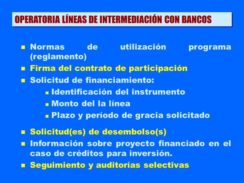 n Normas de utilización programa (reglamento) n Firma del contrato de participación n Solicitud de financiamiento: n Identificación del instrumento n