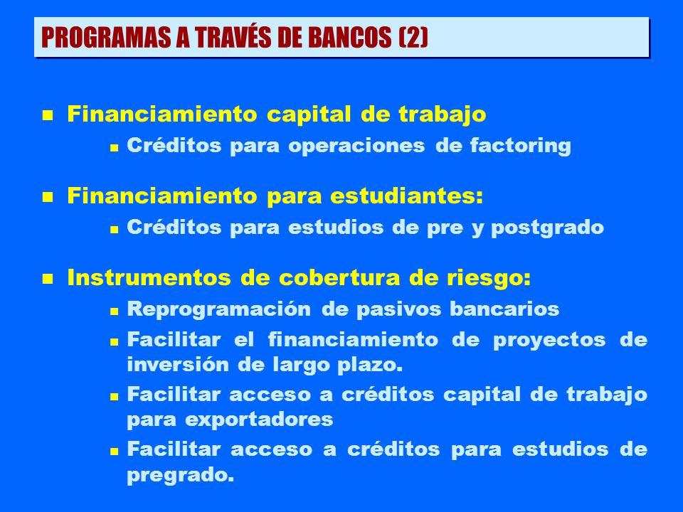 n Financiamiento capital de trabajo n Créditos para operaciones de factoring n Financiamiento para estudiantes: n Créditos para estudios de pre y post