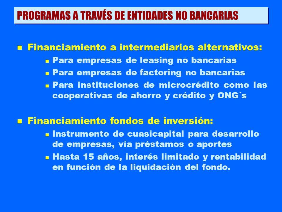 n Financiamiento a intermediarios alternativos: n Para empresas de leasing no bancarias n Para empresas de factoring no bancarias n Para instituciones