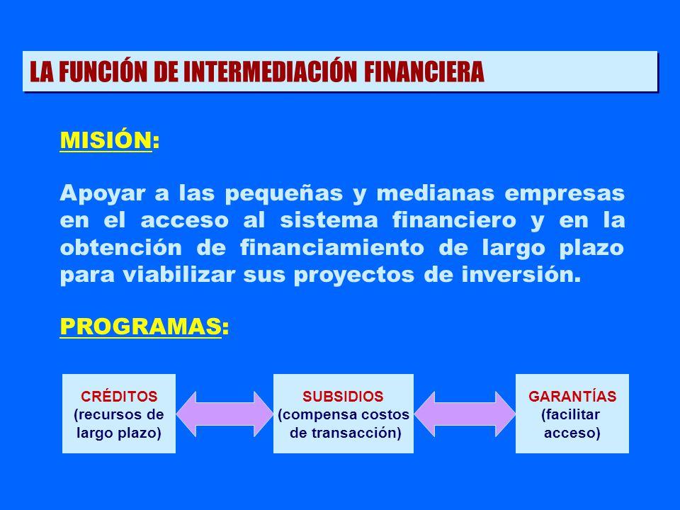 MISIÓN: Apoyar a las pequeñas y medianas empresas en el acceso al sistema financiero y en la obtención de financiamiento de largo plazo para viabiliza