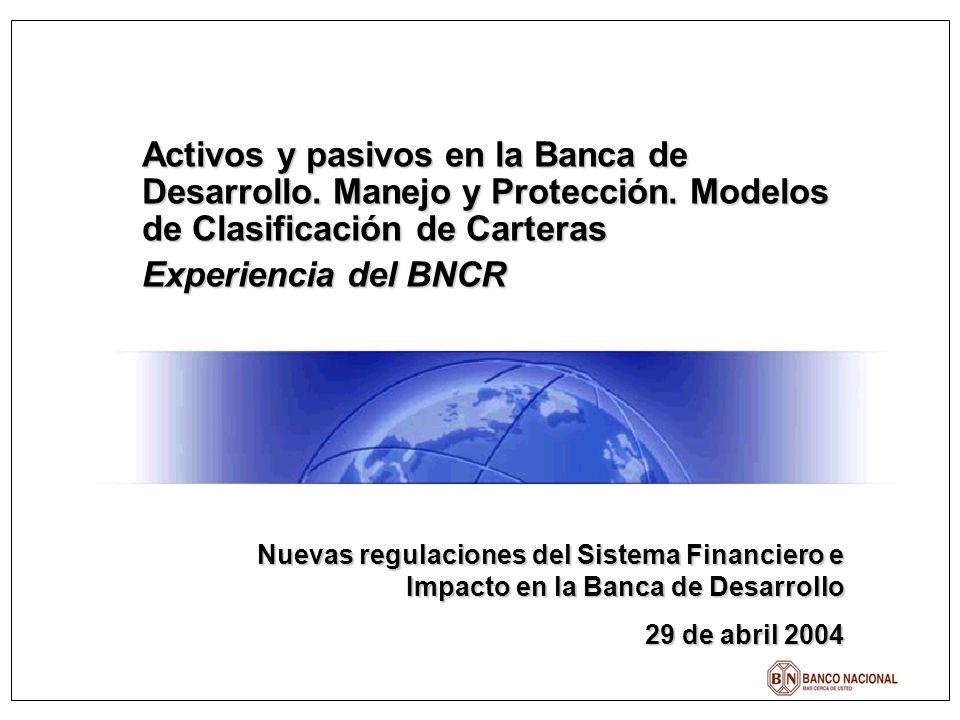 Activos y pasivos en la Banca de Desarrollo. Manejo y Protección. Modelos de Clasificación de Carteras Experiencia del BNCR Nuevas regulaciones del Si