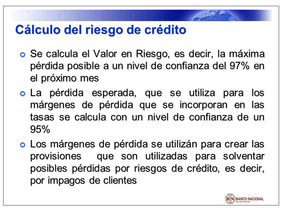 Cálculo del riesgo de crédito Se calcula el Valor en Riesgo, es decir, la máxima pérdida posible a un nivel de confianza del 97% en el próximo mes Se