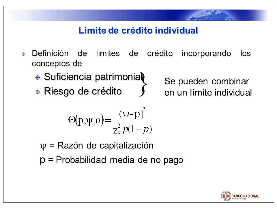 Definición de limites de crédito incorporando los conceptos de Suficiencia patrimonial Riesgo de crédito Límite de crédito individual Se pueden combin