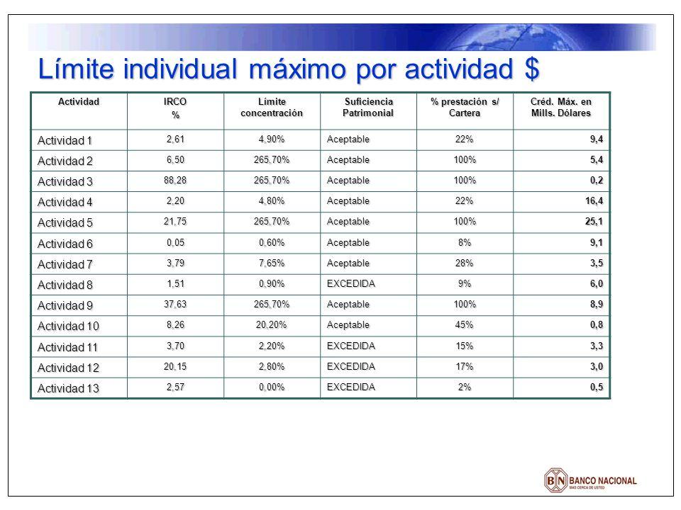 ActividadIRCO% Límite concentración Suficiencia Patrimonial % prestación s/ Cartera Créd. Máx. en Mills. Dólares Actividad 1 2,614,90%Aceptable22%9,4