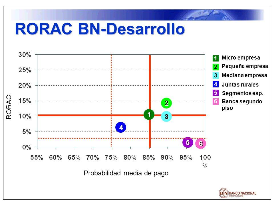RORAC BN-Desarrollo Micro empresa Pequeña empresa Mediana empresa Juntas rurales Segmentos esp. Banca segundo piso 1 2 3 4 5 6 RORAC Probabilidad medi