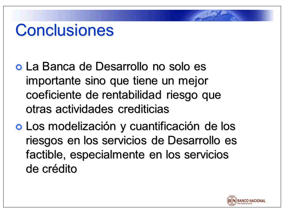 Conclusiones La Banca de Desarrollo no solo es importante sino que tiene un mejor coeficiente de rentabilidad riesgo que otras actividades crediticias