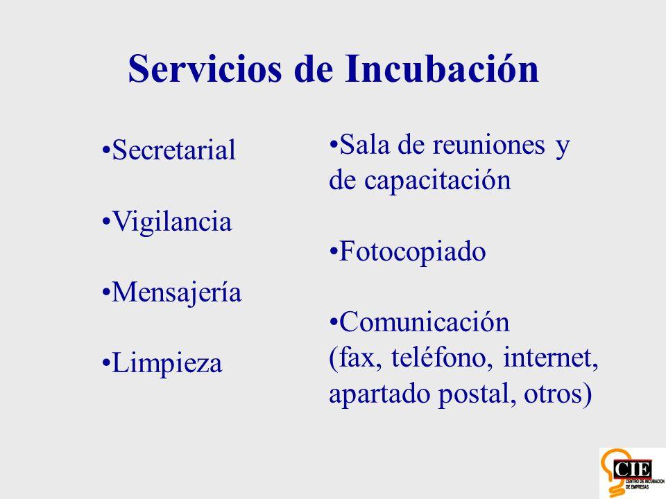 Secretarial Vigilancia Mensajería Limpieza Servicios de Incubación Sala de reuniones y de capacitación Fotocopiado Comunicación (fax, teléfono, intern
